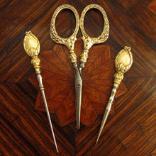 Load image into Gallery viewer, Antique French .800 Silver Gilt Vermeil Sewing Embroidery Set