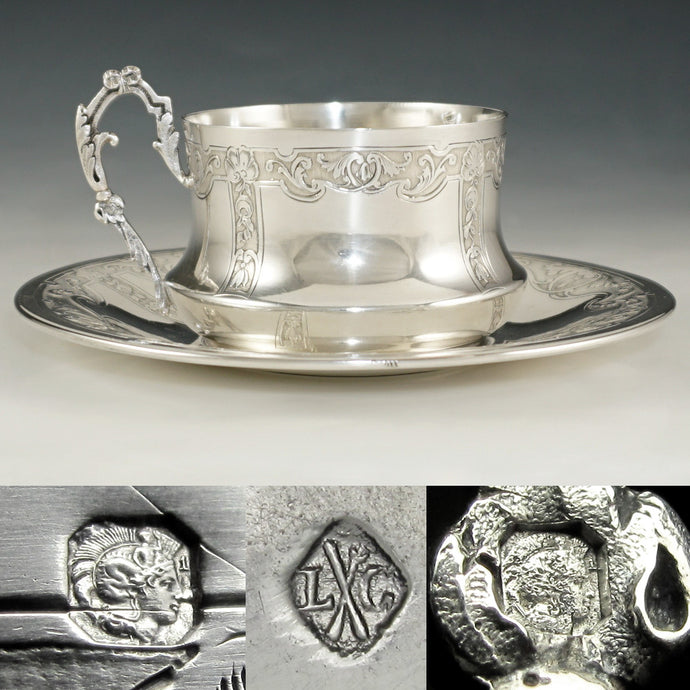 French sterling silver cup & saucer