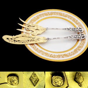 Antique French Sterling Silver Gold Vermeil Fish Server Set Engraved & Pierced