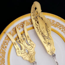 Load image into Gallery viewer, Antique French Sterling Silver Gold Vermeil Fish Server Set Engraved & Pierced