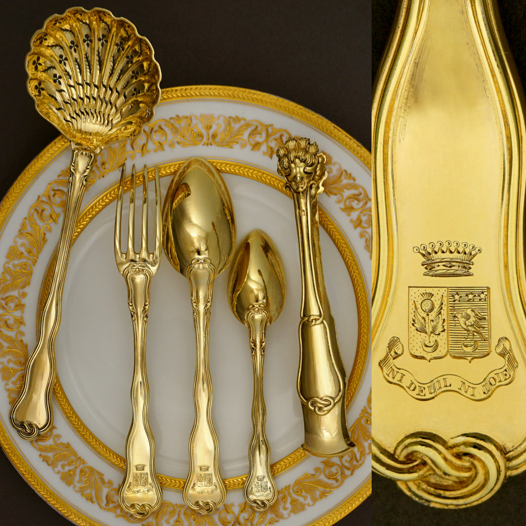 Antique French Sterling Silver Gold Vermeil 38pc Flatware Service, Crowned Armorial Coat of Arms