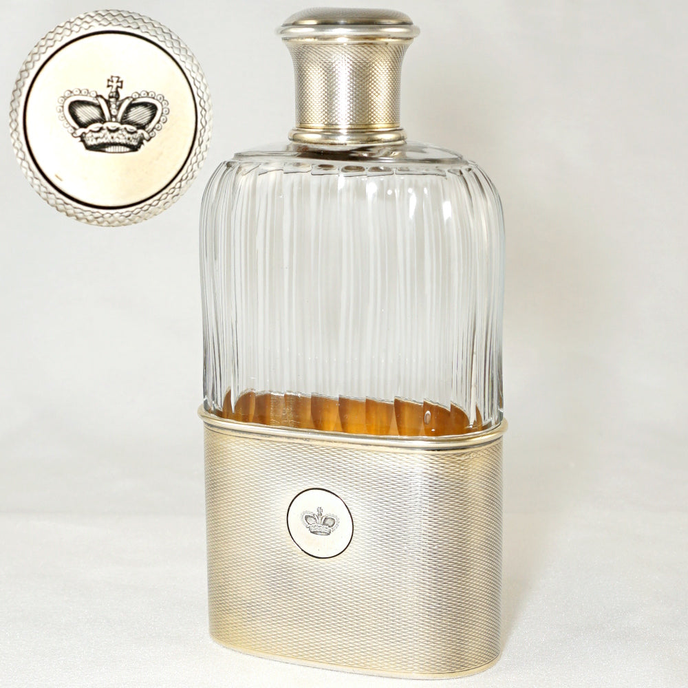 Antique French Sterling Silver Liquor Whiskey Hip Flask by Gustave Keller
