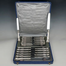 Antique French Sterling Silver Knives, Armorial Heraldry Coat of Arms, Dinner & Luncheon / Dessert Knife Set