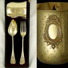 Load image into Gallery viewer, Antique French Sterling Silver Gilt Vermeil 3pc Flatware & Tumbler Cup Gift Set