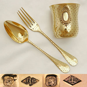Antique French Sterling Silver Gilt Vermeil 3pc Flatware & Tumbler Cup Gift Set