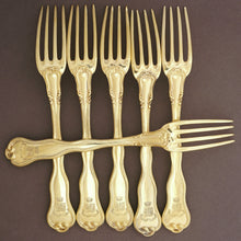 Load image into Gallery viewer, Antique French Sterling Silver Gold Vermeil 38pc Flatware Service, Crowned Armorial Coat of Arms