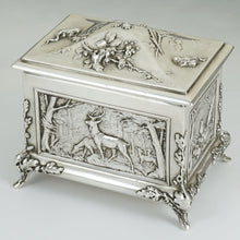 Load image into Gallery viewer, Antique Sterling Silver Jewelry Box Casket French Hunting Theme Deer Stag