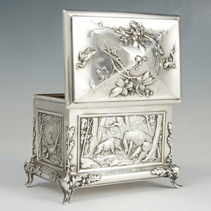 Antique Sterling Silver Jewelry Box Casket French Hunting Theme Deer Stag