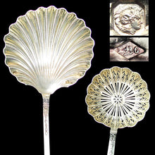 Load image into Gallery viewer, French sterling silver berry spoons, strawberries, sugar sifter, scalloped shell