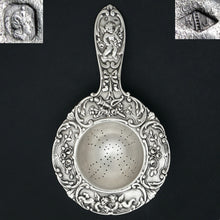 Load image into Gallery viewer, Ornate French Sterling Silver Over the Cup Tea Strainer, Rococo Cherub Figures
