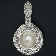 Ornate French Sterling Silver Over the Cup Tea Strainer, Rococo Cherub Figures