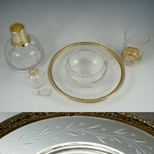 Antique French Sterling Silver Gold Vermeil Cut Crystal Tumble Up Set