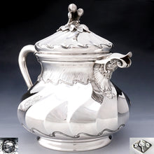Antique French Sterling Silver Teapot / Coffee Pot, Spiral Fluted, Pierre Quielle