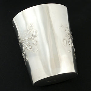 Antique French Sterling Silver Tumbler Cup, Thistle Pattern