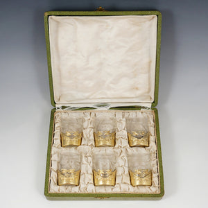 Boxed Set of 6 Art Nouveau French Sterling Silver Shot Glasses