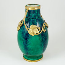 Load image into Gallery viewer, Antique French Sevres Paul Milet Ceramic Vase, Art Nouveau Gilt Bronze Ormolu, Flambe Glaze