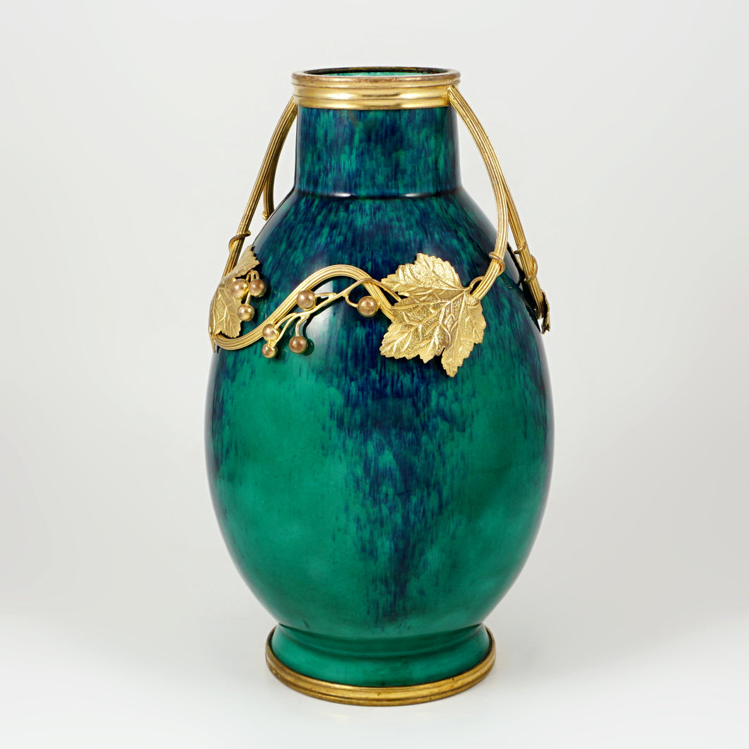 Antique French Sevres Paul Milet Ceramic Vase, Art Nouveau Gilt Bronze Ormolu, Flambe Glaze