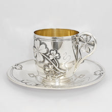 Load image into Gallery viewer, Antique French Sterling Silver Coffee Tea Cup & Saucer Set, Shamrock Clover Antique French Sterling Silver Coffee Tea Cup & Saucer Set, Shamrock Clover
