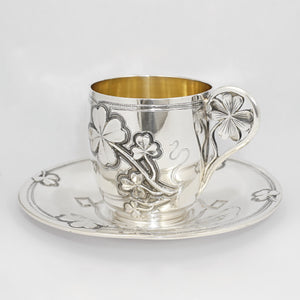 Antique French Sterling Silver Coffee Tea Cup & Saucer Set, Shamrock Clover Antique French Sterling Silver Coffee Tea Cup & Saucer Set, Shamrock Clover