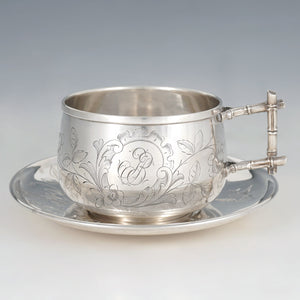Antique French Sterling Silver Tea Cup & Saucer, Engraved Bird