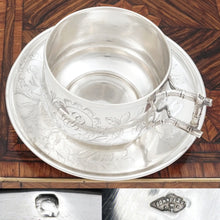Load image into Gallery viewer, Antique French Sterling Silver Tea Cup & Saucer, Engraved Bird