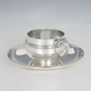 Antique French Sterling Silver Tea / Coffee Cup & Saucer Set, Henin & Cie, Neoclassical