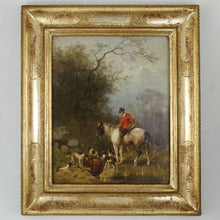 Julius Noerr (1827-1897) 19th Century Hunting Oil Painting Horse, Stag, Hound Dogs