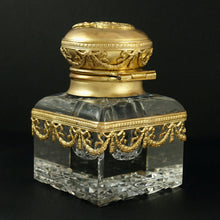 Load image into Gallery viewer, Antique French Gilt Bronze & Cut Crystal Empire Style Inkwell