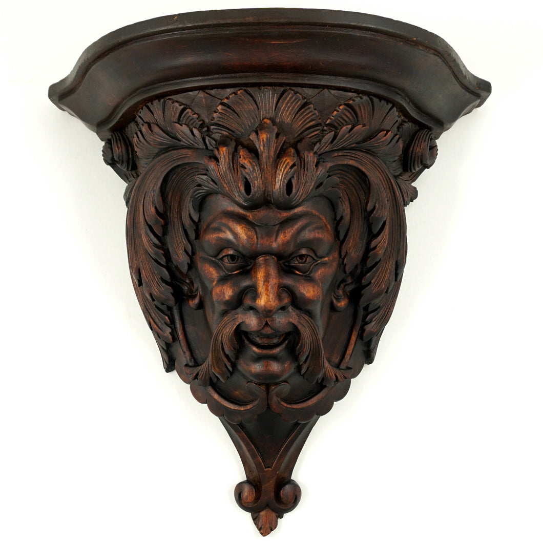 Antique Hand Carved Wood Sculpture Wall Mount Shelf Bracket, Mythological Figure