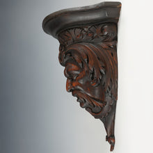 Load image into Gallery viewer, Antique Hand Carved Wood Sculpture Wall Mount Shelf Bracket, Mythological Figure