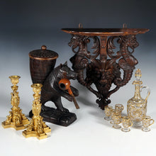 Load image into Gallery viewer, The Antique Boutique - Moser glass, Carved Wood Shelf, Black Forest Bear, French bronze Candle holders
