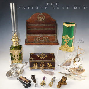 The Antique Boutique French decorative arts art glass gilt bronze ormolu wax seals jewerly box Legras vase oil lamp