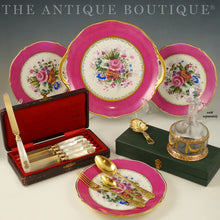 Load image into Gallery viewer, antique french sterling silver flatware, pearl knives, limoges pink dessert plates antiques