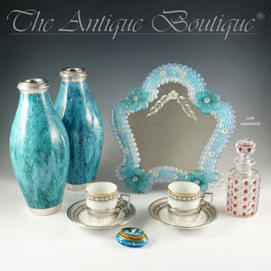 Italian Venetian Murano Art Glass Vanity Table Wall Mirror, Opalescent Blue Rosettes