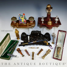 Load image into Gallery viewer, Antique French Silvered Bronze Figural Wax Seal, Desk Stamp, Animialier Study of a Mouse & Snake