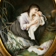Load image into Gallery viewer, Antique Victorian Hand Painted Porcelain Portrait Plaque, Mother & Infant Baby
