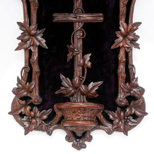 Antique Black Forest Hand Carved Wood Holy Water Font, Stoup Religious Cross