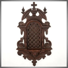 Load image into Gallery viewer, Antique 19thc Carved Wood Religious Altar Niche Wall Hanging, Lattice Door Front