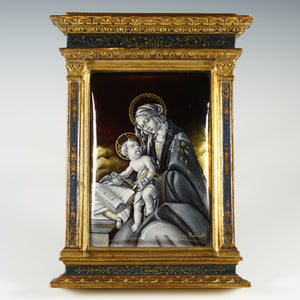 Antique French Limoges Enamel on Copper Miniature Portrait Plaque, Religious Madonna Virgin Mary & infant Jesus Christ, Gilt Wood Florentine-style Frame