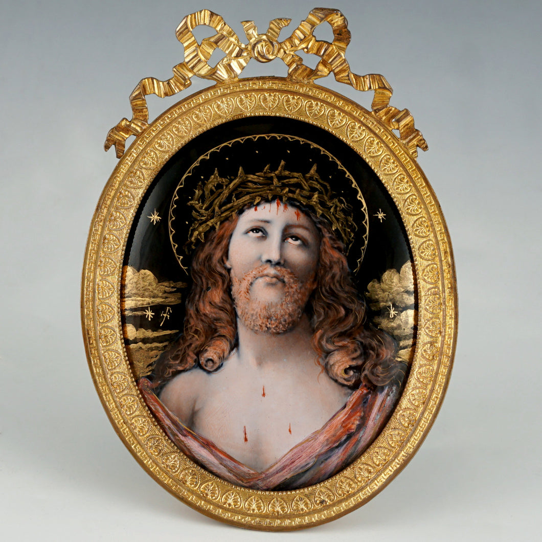 Antique French Limoges Enamel on Copper Miniature Portrait Plaque Painting of Jesus Christ, Gilt Bronze Frame