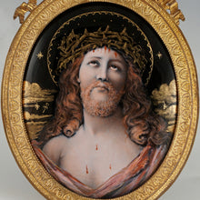 Load image into Gallery viewer, Antique French Limoges Enamel on Copper Miniature Portrait Plaque Painting of Jesus Christ, Gilt Bronze Frame