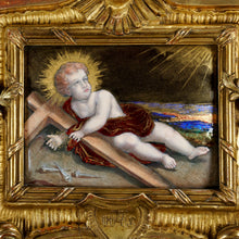 Load image into Gallery viewer, Antique French Limoges Enamel Copper Jesus Portrait Religious Plaque Gilt Frame