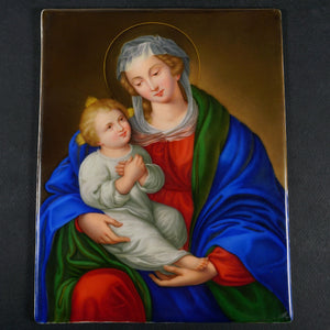 Antique German Porcelain Plaque Hand Painted Madonna & Child Religious Scene Miniature Portrait