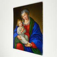 Load image into Gallery viewer, Antique German Porcelain Plaque Hand Painted Madonna & Child Religious Scene Miniature Portrait