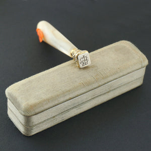 Antique French .800 Silver Wax Seal, Carved Coral & Mother of Pearl Handle, Original Box