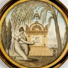 Load image into Gallery viewer, Antique Napoleon III era French Mourning Hair Art Memento Sentimental Miniature Portrait, Tomb, Weeping Willow, Daughter & Father