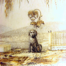 Load image into Gallery viewer, Rare Antique French Sentimental Mourning Hair Art Work DOG & Tomb