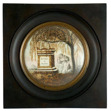 Load image into Gallery viewer, Antique 19thc Napoleon III era French Mourning Hair Art Memento Sentimental Miniature Portrait, Tomb, Weeping Willow