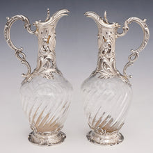 Load image into Gallery viewer, Pair antique French sterling silver & cut crystal claret jugs
