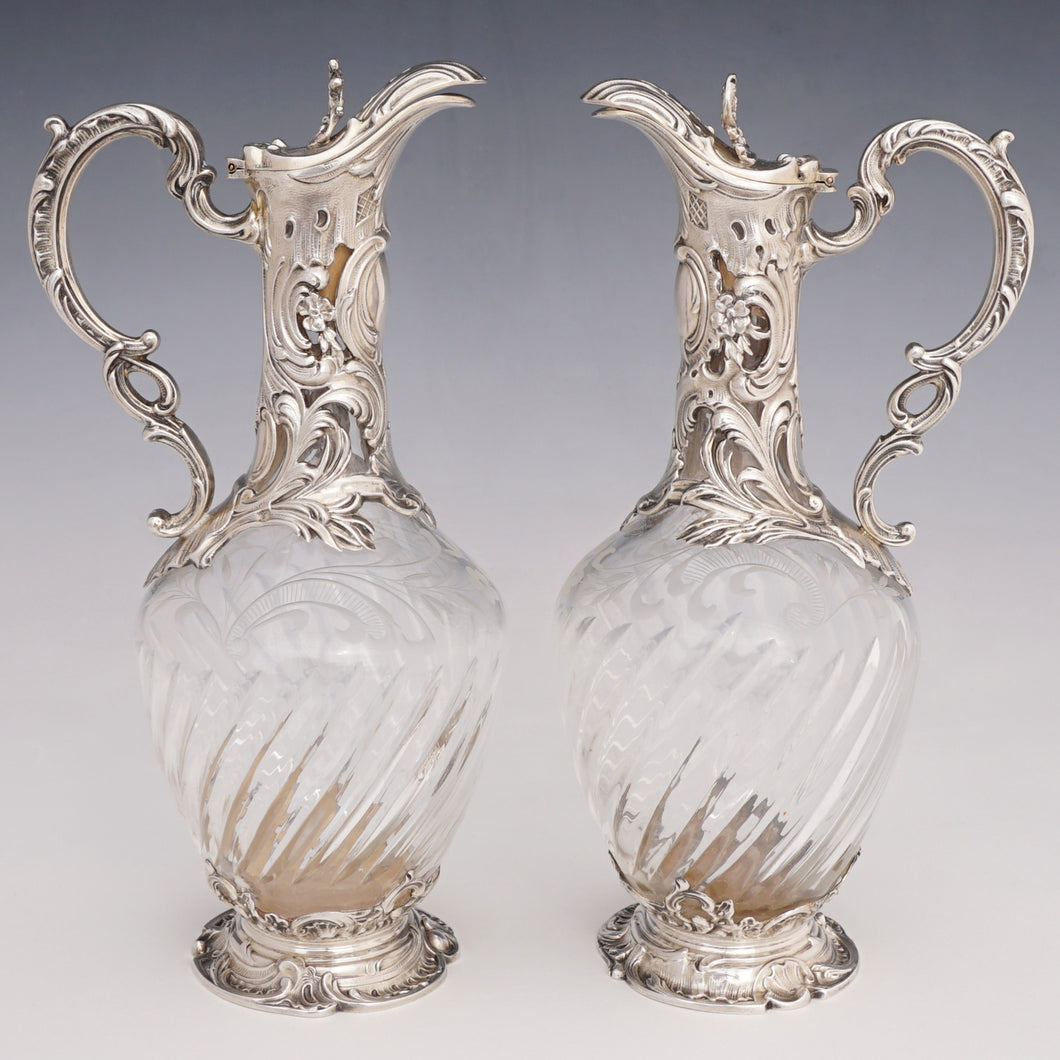 Pair antique French sterling silver & cut crystal claret jugs
